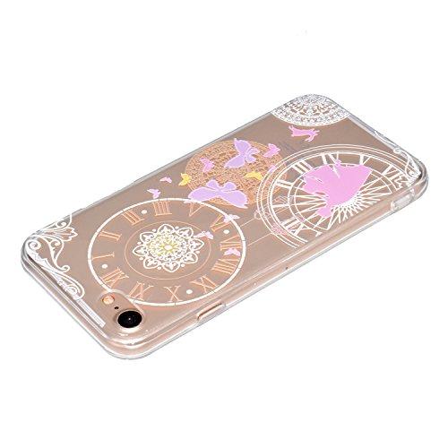 Custodia per iPhone 7 4.7 Gomma Trasparente,Girlyard Elegante Belle Disegno Cover in TPU Gel Ultra Ultra-Sottile Slim Anti-urto Coperture Protettiva Custodia per iPhone 7 4.7 con Protezione Pellicol Orologio Farfalla