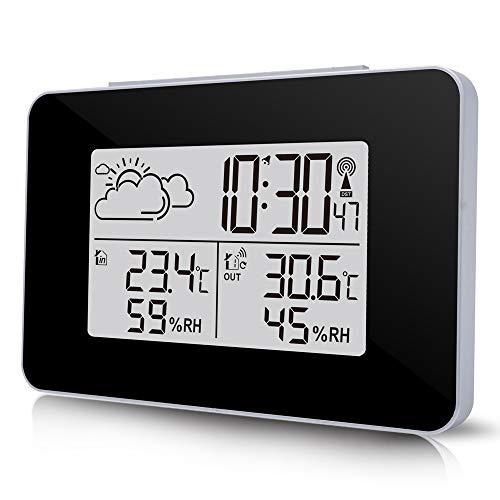 ALLOMN Pronóstico del Tiempo,Estación Meteorológica Interior/Exterior con Pantalla LCD y Sensor Inalámbrico...