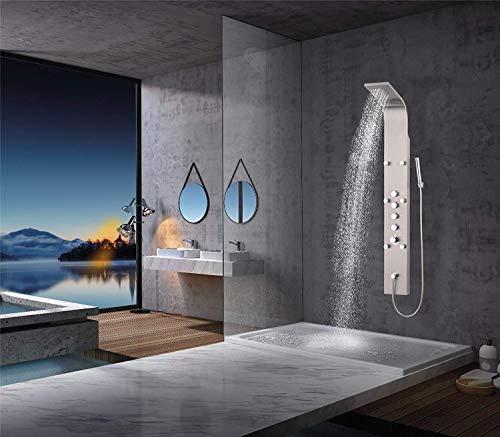 duschpaneele mit thermostat Elbe Duschpaneel Edelstahl mit Thermostat, 6xMassagedüsen, Regendusche, Wasserfall und Handbrause, Duschsystem aus gebürstetes Edelstahl, für Wellness, Luxus und Duschvergnügen im eigenen Bad