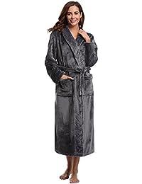 Aibrou Peignoir Femme Velours Robe de Chambre Polaire Femme Chaud Long Flanelle Peignoir de Bain Homme Eponge Hiver Longue pour Le Cadeau de Noël