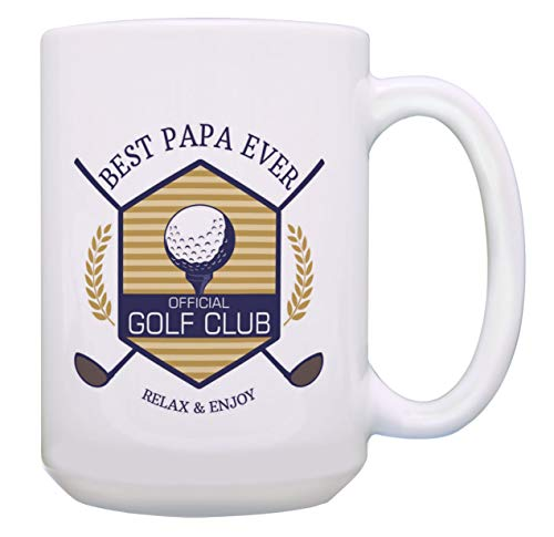 Golf-Becher Best Papa Ever Golf Club Relax & Enjoy Golf Geschenke Golfer Geschenk Kaffeetasse Teetasse 15 oz White