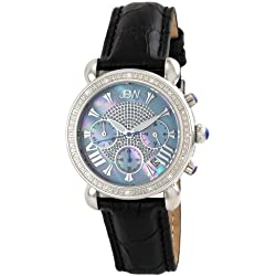 """Just Bling Ladies JB-6210L-C """"Victory Blue"""" Stainless Steel Leather Diamond Watch"""