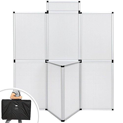 TecTake Parete promozionale Pannello espositore parete divisoria per ufficio fiere congressi 180 x 200 cm con tavolo BIANCO