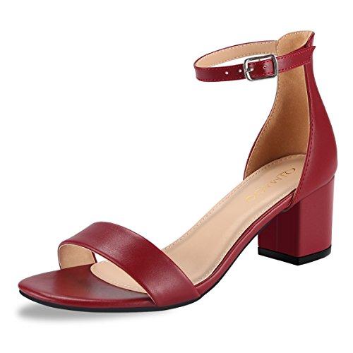 Qimaoo Damen Riemchensandalen 6cm Blockabsatz Sandalen Knöchelriemen Sandaletten Sommer High Heels Schuhe mit Absatz,Schwarz Silber Weinrot und Nude