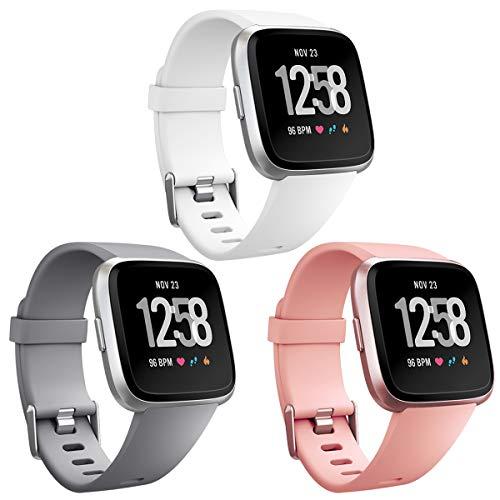 HUMENN Armband Für Fitbit Versa/Fitbit Versa Lite, Classic Weiches TPU Sports Ersetzerband Verstellbares Zubehör Uhrenarmband für Fitbit Versa Smartwatch Groß Weiß+Pfirsich+Grau