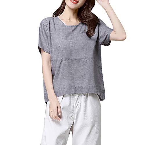 (FOTBIMK Women Bettwäsche aus Baumwolle Short-Sleeved Solid Casual Loose Shirt Top(Grau,Medium))