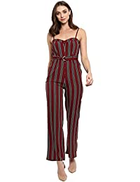 baae82e906 Spotstyl Wine   Black Stripe Belted dungarees and jumpsuits for women  jumpsuits for women stylish full