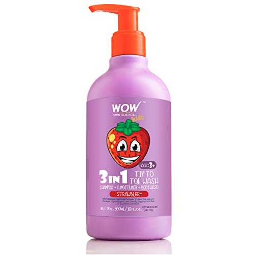 WOW Kids Tip to Toe Wash - Shampoo - Conditioner - Body Wash - No Parabens, Sulphate, Silicones, Mineral Oil or Color - Strawberry, 300 ml
