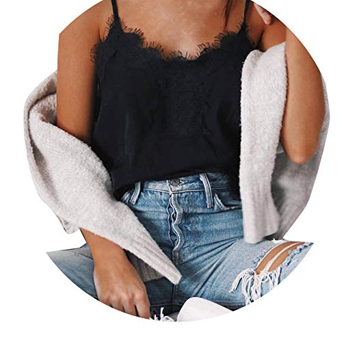 32b1a2ad10 Weant Canotta Donna T-Shirt Crop Tops Canottiere Canotta Felpe Lace Donne  Elegante Girocollo Pizzo Tank Top Casual Vest Sexy Vestiti Estivi Manica ...