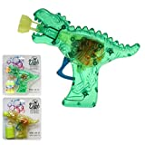 wuselwelt 54539, Seifenblasenpistole Dino-Gun mit Lichteffekt, Komplettset inkl. Seifenblasenflüssigkeit, Pistole Bubble Gun