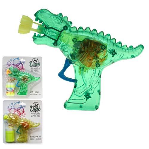 wuselwelt Seifenblasenpistole Dino-Gun mit Lichteffekt, Komplettset inkl. Seifenblasenflüssigkeit, Pistole Bubble Gun