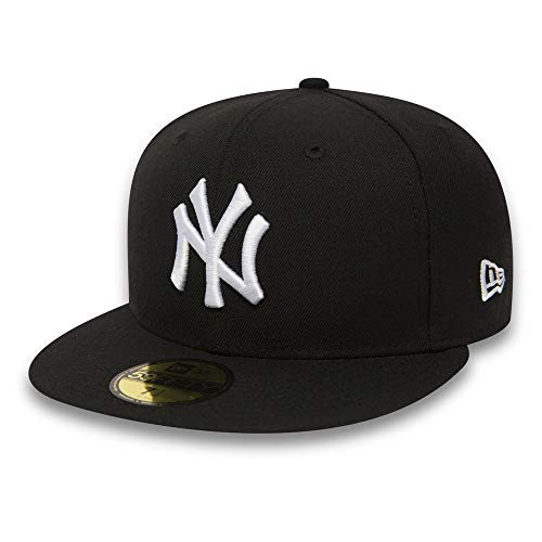 New Era 59Fifty Erwachsene Baseball Cap Mütze MLB Basic NY Yankees LA Dodgers 59Fifty Fitted mit 7kmh Aufkleber Schwarz 7_1/8 Basic Fitted Cap