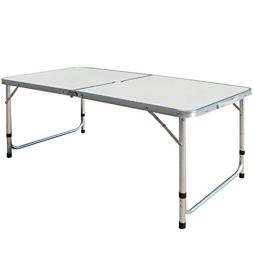 Superworth 4FT 1.2M Folding Camping Table Aluminum Lightweight Extra Strength Portable Indoor Outdoor Garden Party Holiday Picnic BBQ With Carry Handle Parasol Hole