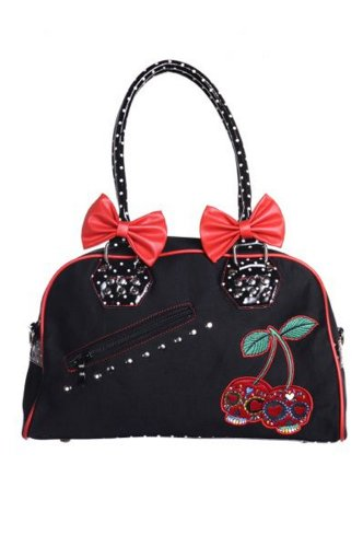 Banned - Rockabilly Polka Dot Damen Kirschen Cherry Skull Bag Tasche (schwarz/rot)