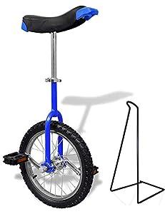 Funsport Einstellbares Einrad 16 Zoll Mit Ständer Blau
