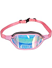 Women Shiny Wasit Bag Fashion Reflective Chest Bag Outdoor Sports Travel Bags (Pink)