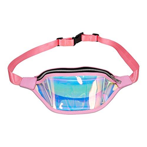 Hologramm Gürteltasche Wasserdichte Laser Shiny Neon Fanny Brust Pack (Rosa) ()