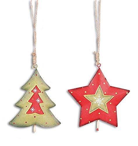 Deko Anhänger Tanne Baum und Stern hängend im Set je 8-9 cm, Metall grün rot, Winter Weihnachtsdeko Baumschmuck Fensterschmuck Metallfigur zum Hängen