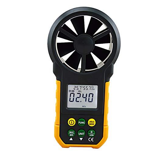 YBYBYB Anemometer Hand-Anemometer Windgeschwindigkeit Luftvolumen Temperatur-Feuchtigkeit Meter Für Surfen Bergsteigen Im Freien,Yellow,165Mmx85mmx35mm