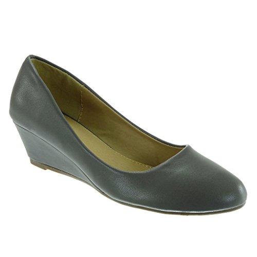 Angkorly - Scarpe da Moda scarpe decollete slip-on decollete donna Tacco zeppa 4.5 CM Grigio