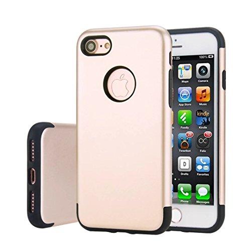 """iPhone 7 Coque,Lantier [de Armure robuste] Heavy Duty antichoc robuste Slim Dual Layer 2 en 1 étui de protection+dur PC hybride TPU souple pour Apple iPhone 7 4.7"""" argent Gold"""