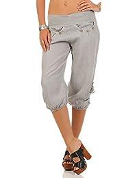 8114a36734 Malito Damen Capri Hose aus Leinen   Stoffhose in Unifarben   Freizeithose  für den Strand