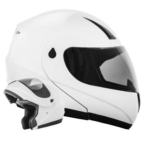 K71 Weiß ATO Klapphelm Motorradhelm - Aktuelle Sicherheitsnorm ECE 22-05 - Größe: (S 55/56cm)