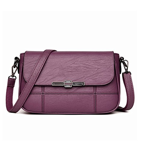 Mkulxina Frauen Soft-Leder Mum Taschen Schultertasche Damen Handtasche Schultertasche Casual (Color : Purple)