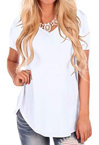Frau Lose Bluse Hemd Pullover Kurzarm Jumper T-Shirt V Ausschnitt Tops Weiß M