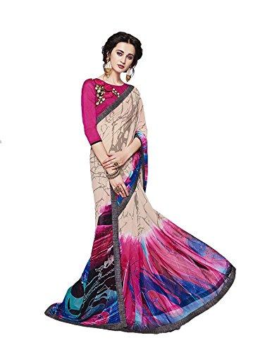 939d39bc17b9a0 The Six Yards ™ Beautiful Multi Colour Georgette Printed Designer Printed  Saree