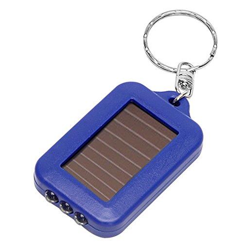 Merssavo Mini Solar Power Rechargeable 3LED Flashlight Keychain Light Torch Ring Blue