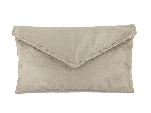 Loni Neat Umschlag Faux Wildleder Clutch Bag/Schultertasche in schwarz maus pilz taupe
