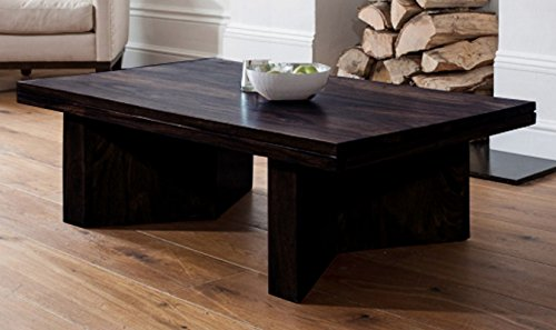 TimberTaste Mary Solid Wood Coffee Table (Dark Walnut Finish)