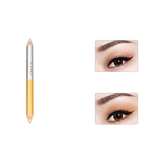 Momoxi Lidschatten,Augen Make-up Augenbrauenstift Doppelköpfiger Perlmutt-Lidschatten-Bleistift liegen Seidenraupen-Stift langlebig wasserdicht