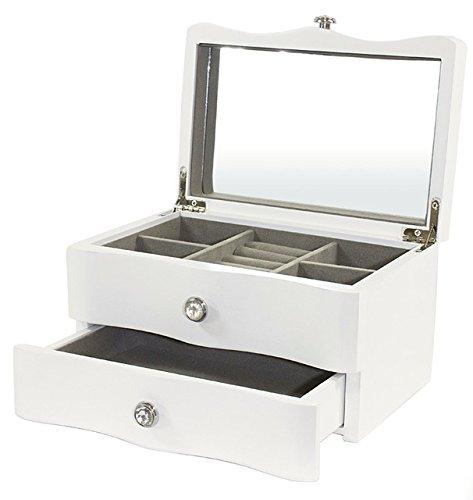 Weiß Schmuckkästchen aus Holz mit Spiegel und ziehen Schublade Neu