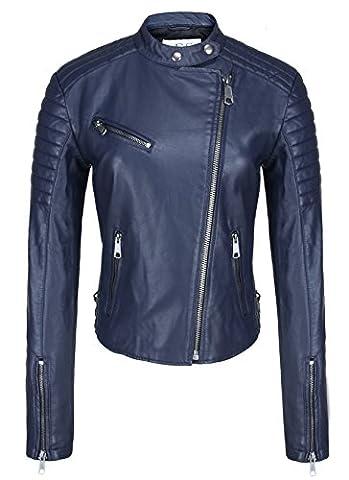 Escalier Femme Bleu Faux Moto Veste en