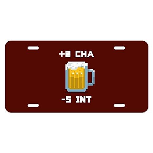 Monsety Nummernschild Cover für Herren 8-Bit Pixel Retro Bier Charisma Buff Gamer Spiel KFZ Tag deckt Auto Schild