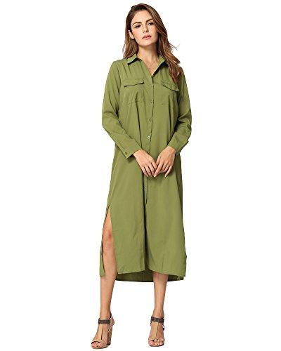 Kleid Turn Down Kragen Langarm Schaltflächen Taschen Lässig T-Shirt Kleid (Tasche Von Schaltflächen)