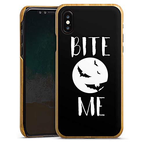 DeinDesign Holz Hülle kompatibel mit Apple iPhone X Holz Schutzhülle Echtholz Handyhülle Halloween Fledermaus Vampire -