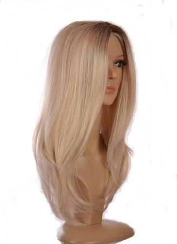 Langhaarig seidig - glatt Perücke | 'Snooki' Perücke | Gebleichtes Blond Perücke mit dunklem Haaransatz (Perücke Platin Blonde Kurze)