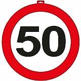 Carpeta - Riesen Verkehrsschild * Zahl 50 * ┃ Ø 47,5cm ┃ Deko 50. Geburtstag ┃ Türschild und Straßenschild ┃ mit & Ohne Aufhänger ✔