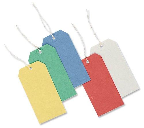 Merit Tags Strung - Paquete de 1000 etiquetas de identificación por colores, rojo