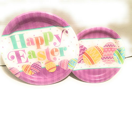 Happy Ostern Cheer-Teller-Set - 8 Gäste-Party-Set - 2 Teile: Speiseteller & Dessertteller