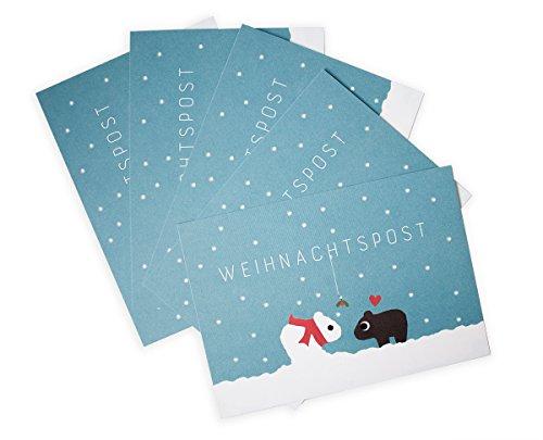 Weihnachtliches Postkarten Set / verliebte Wombats zu Weihnachten / Schneelandschaft