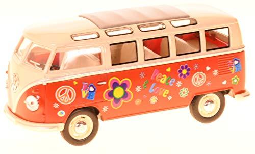 Unbekannt VW Bus Bulli Rouge Hippi 1 : 24 Volkswagen Microbus modèle Voiture 12176