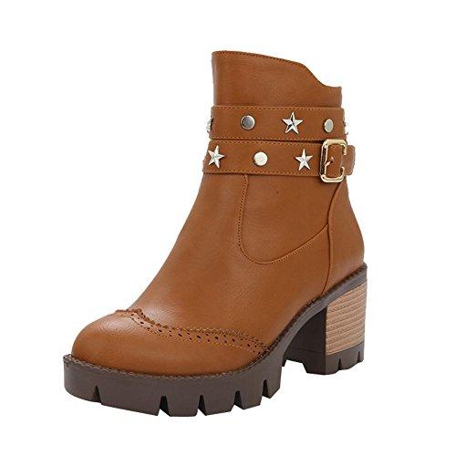 Mee Shoes Damen chunky heels Plateau Reißverschluss kurzschaft Ankle Boots Braun