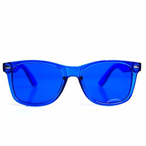 GloFX Herren Therapie Brillen- Stimmung, Lichttherapie, Chromotherapie Gläser eine Grösse passt allen Blau