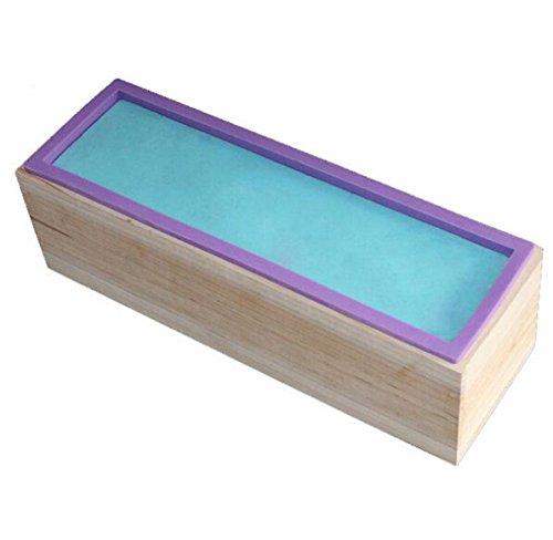 Allforhome moule rectangulaire flexible Savon silicone avec Box Bois pour 42 onces maison Savon Produce