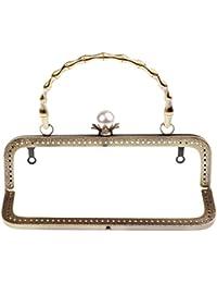 6b79ed268e Baoblaze 20cm Metallo Cornice Quadrata Perla Perlina Chiusura Accessori per  Borsa Fai Da Te - bronzo