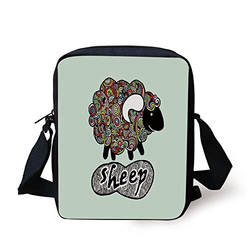 Indie,Hipster Doodle Funny Sheep with Colorful Spiral Swirls Drawing Style Comic Country,Multicolor Print Kids Crossbody Messenger Bag Purse